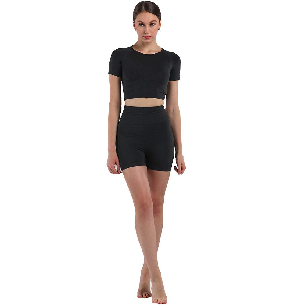 Two Piece Outfits For Women Summer Crop Top Sexy Workout Work Gym Biker Short Sets Women 2 piece Outfits