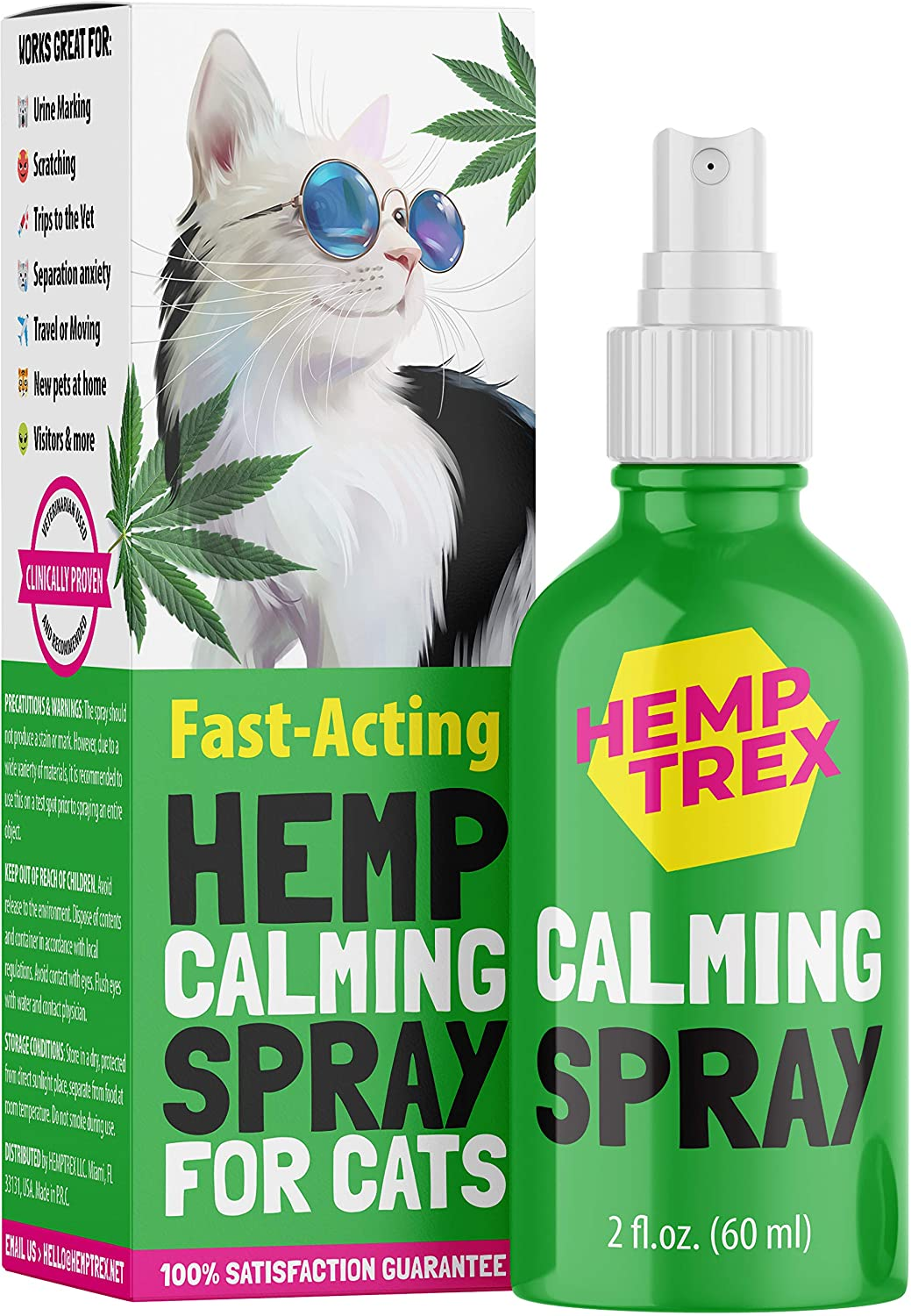 Calming Spray for Cats and Dogs with Pheromones (60ML) - #1 Natures Miracle - Reduce Anxiety, Relax. Vet Visits, Travel,Thunder Relief and More.