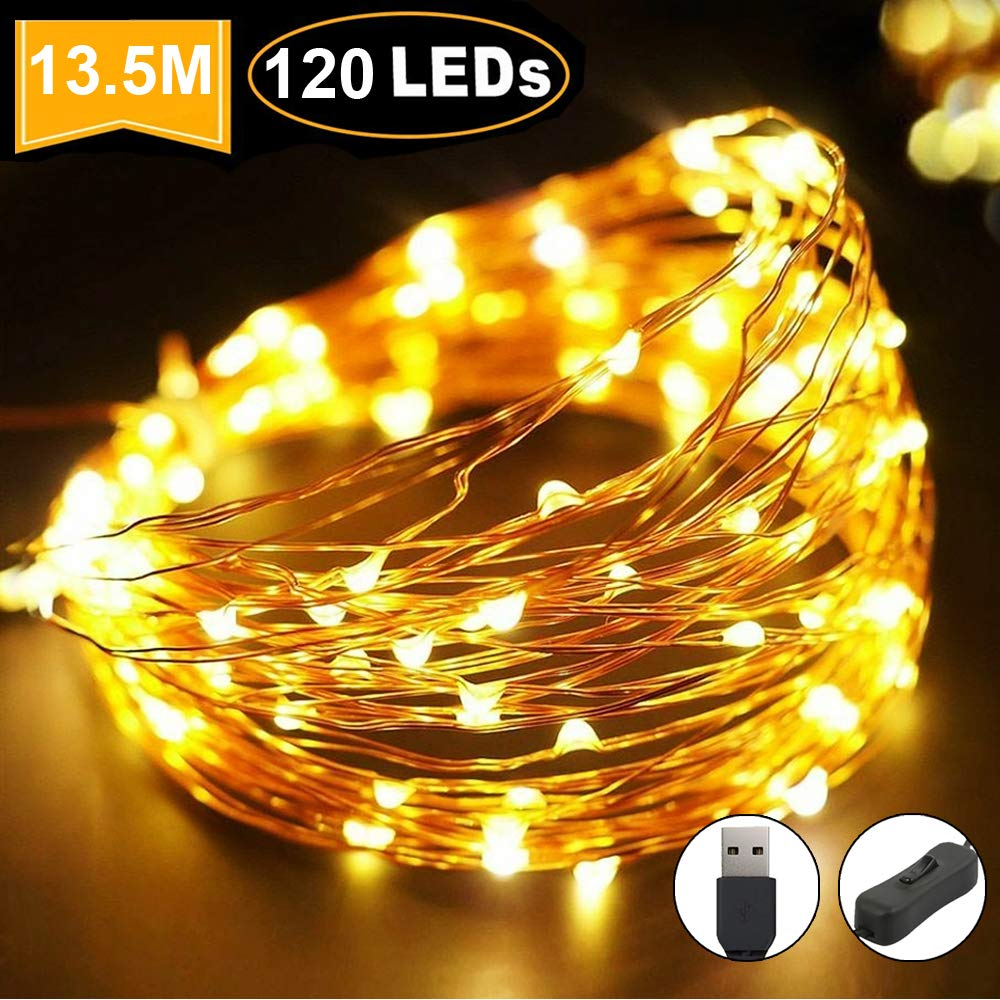 LED Fairy String Lights, Copper Wire String Lights 120LED USB Powered Waterproof for Outdoor & Indoor