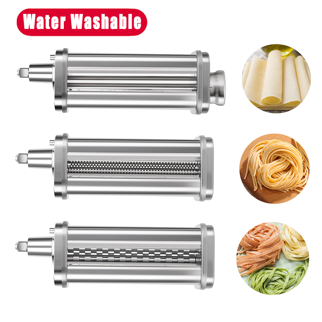 Pasta Maker Attachment 3-in-1 Set for KitchenAid Stand Mixers, Pasta Roller & Cutter Attachments Stainless Steel Included Pasta Sheet Roller, Spaghetti Cutter, Fettuccine Cutter