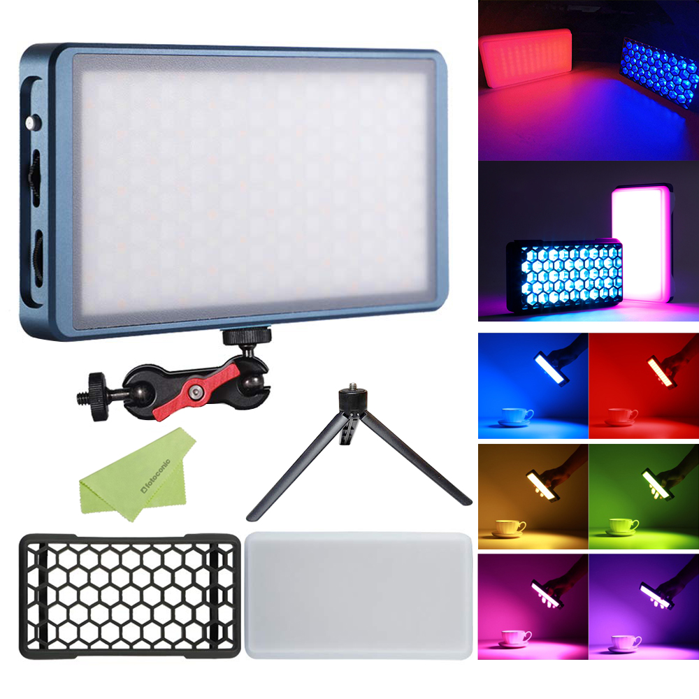 Falcon Eyes F7 12W RGB LED Video Light Mini Pocket On Camera Light with Multiple Scenario Mode, CRI 97, 2500K-9000K, Magnet Adsorbing Function, Built-in Rechargeable Battery with Softbox & Grid