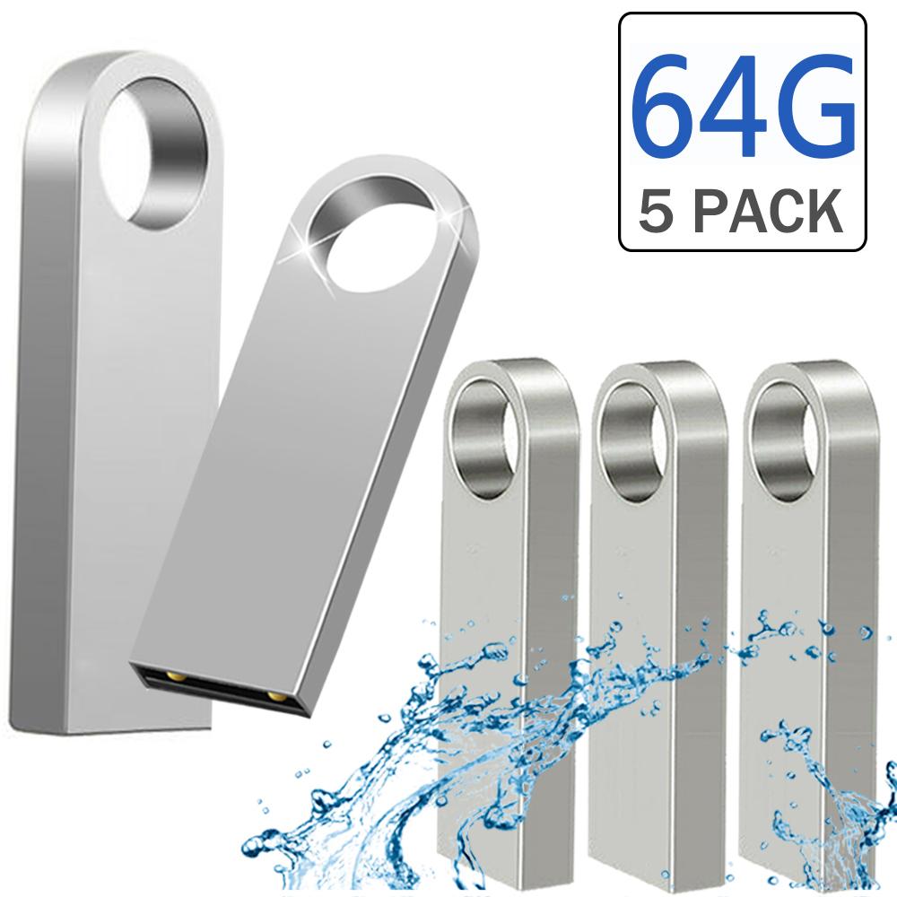 USB Stick, 5 X 64GB Pen Thumb Flash Drives Jump Drive Memory External Storage Stick with Keychain Design (Silver)