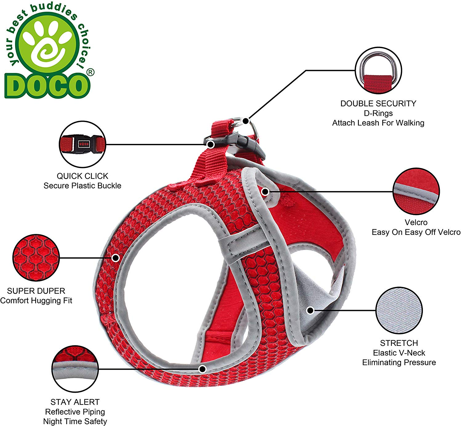 DOCO Athletica Adjustable Velcro V-Neck Dog Harness - No Pull, No Choke, Custom-Fit & Perfect for Small and Medium Sized Dogs