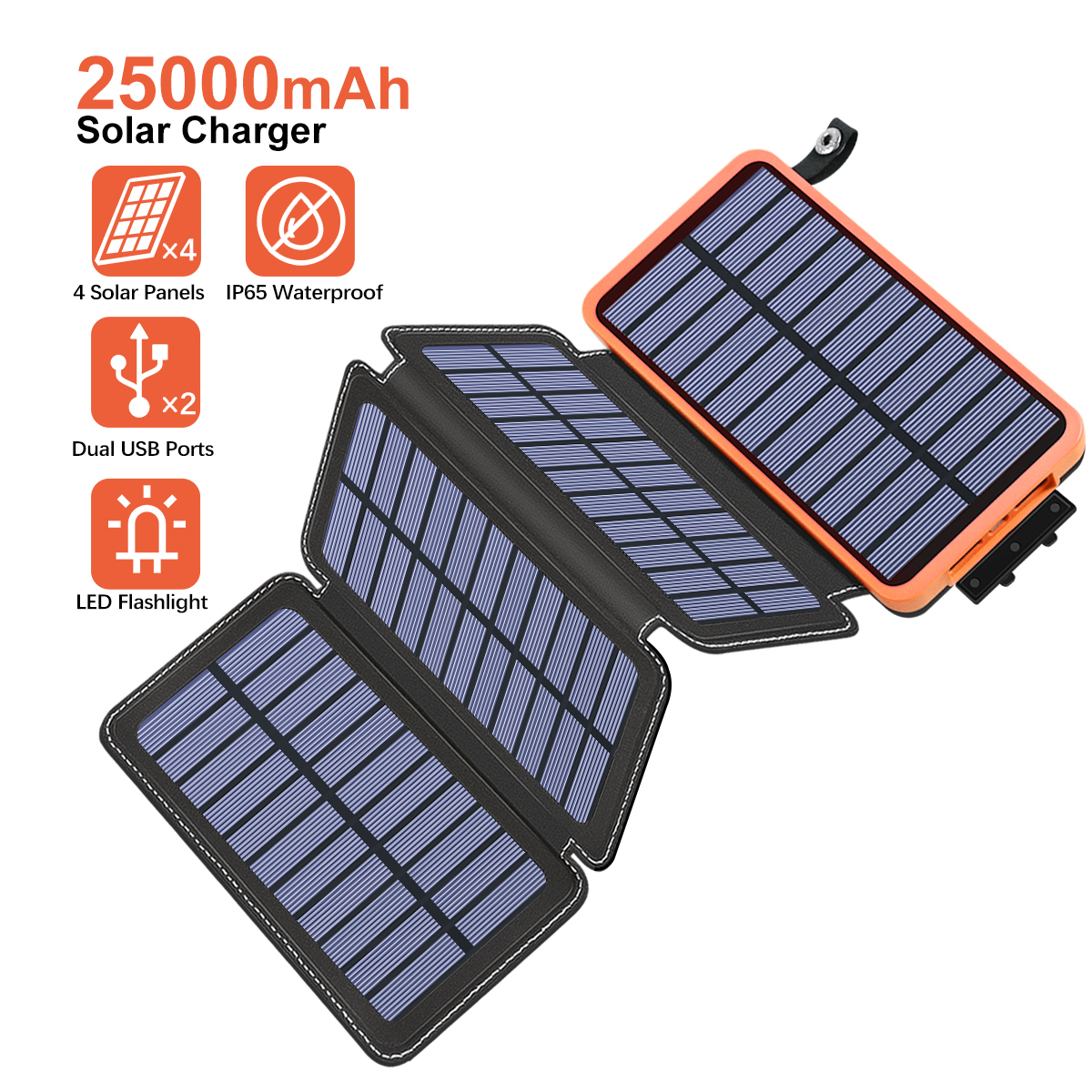 Solar Charger 25000mAh Portable Power Bank with 4 Solar Panels 6W Power Phone Charger for Smart Phones, Tablets and Outdoor Waterproof