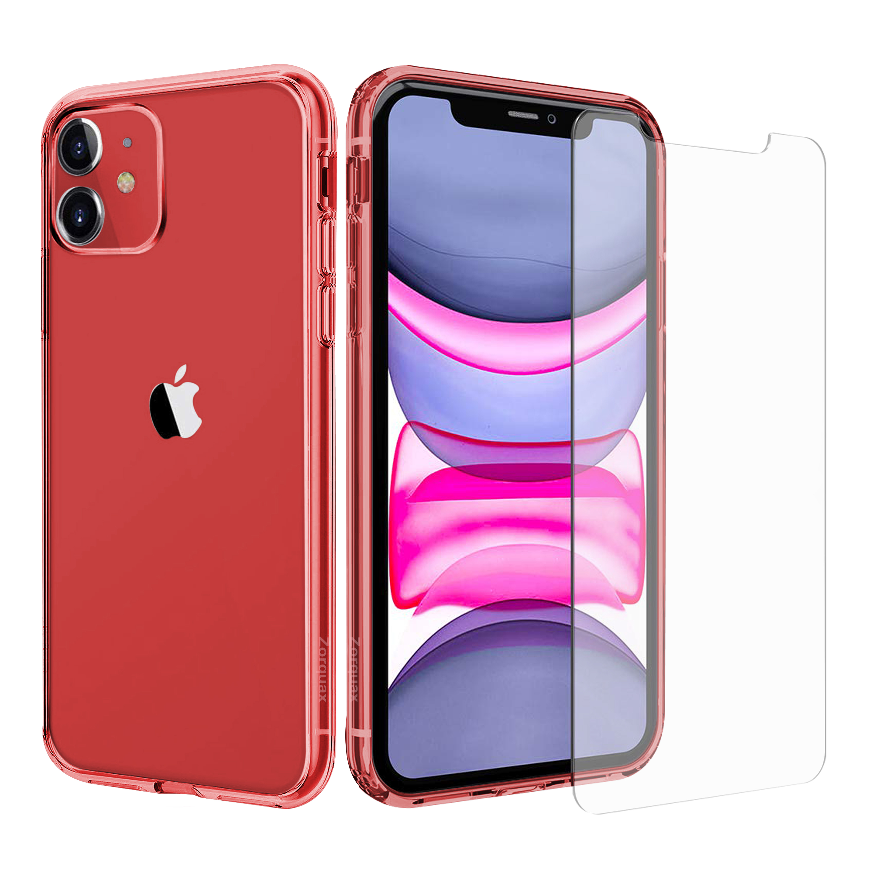 iPhone 11, Pro, Pro Max Zorquax Complete & Clear Protection Pack - Clear Hybrid (Hard PC Back, Soft TPU Sides) Shockproof & Case-on Charging Case with Two (2x) 9H Tempered Glass Screen Protectors