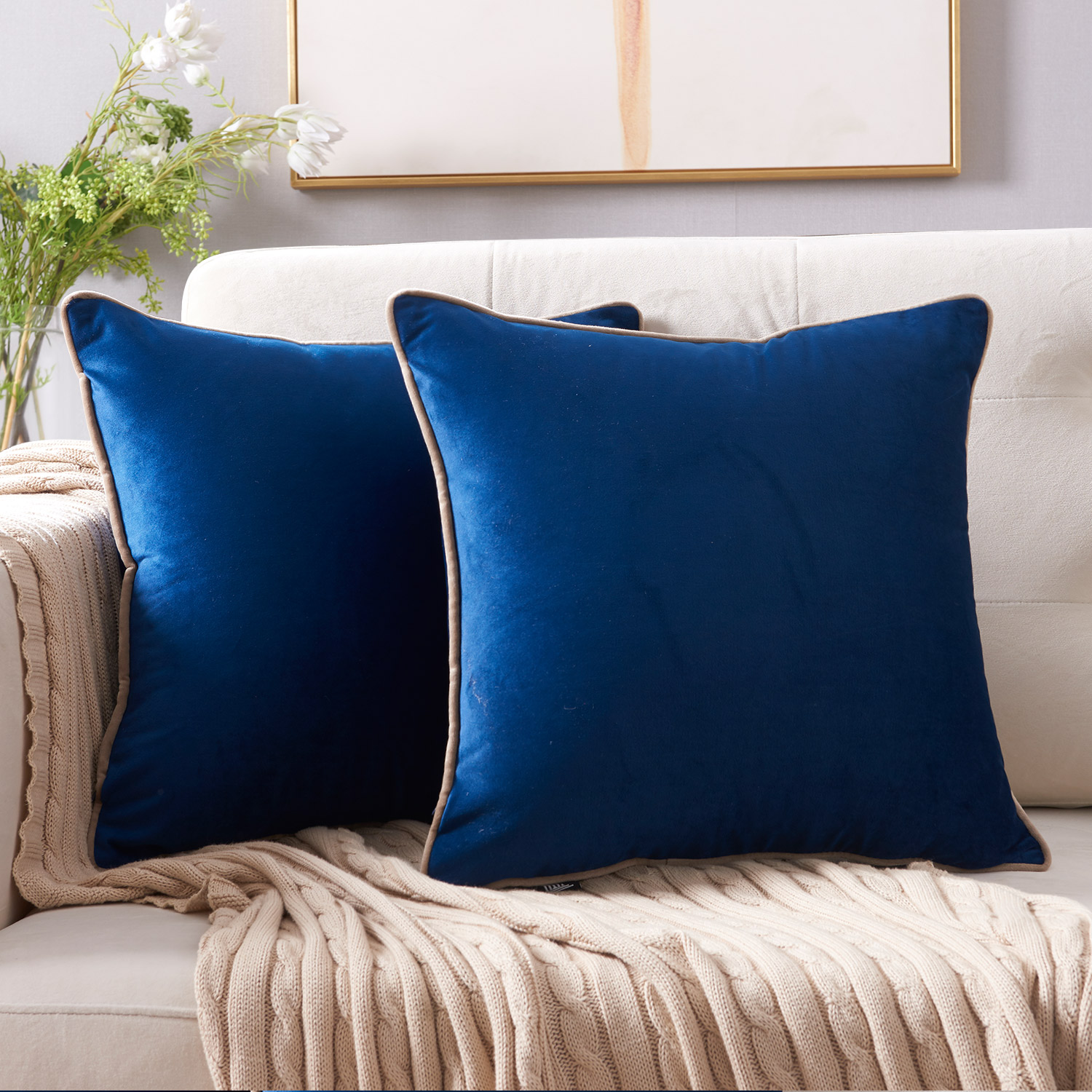 "2pc Square Cushion Throw Pillow Cover, Velvet Decorative Solid Pillow Case (navy blue, 18""x18"")"