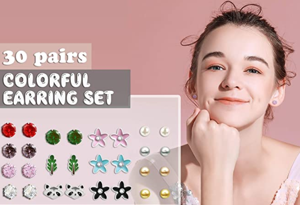 Colorful Crystal Pearl Ball Cubic Zirconia Animals Flower Star Hypoallergenic Earring Set Charm Trendy Piercing Jewelry Gift for Girls Teens Women,30 Pairs , Cute Multiple Stud Earrings Set for Girls