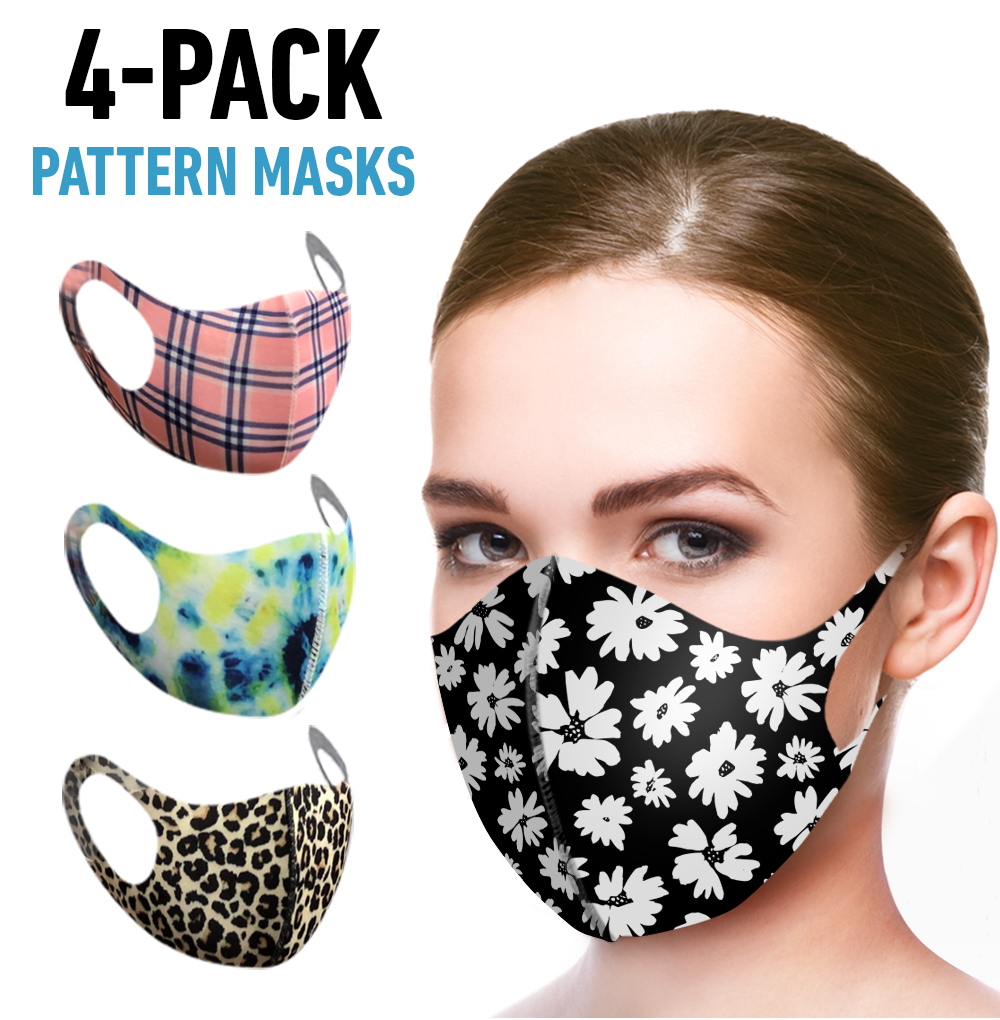 4 Pack Re-Usable Fashion Masks