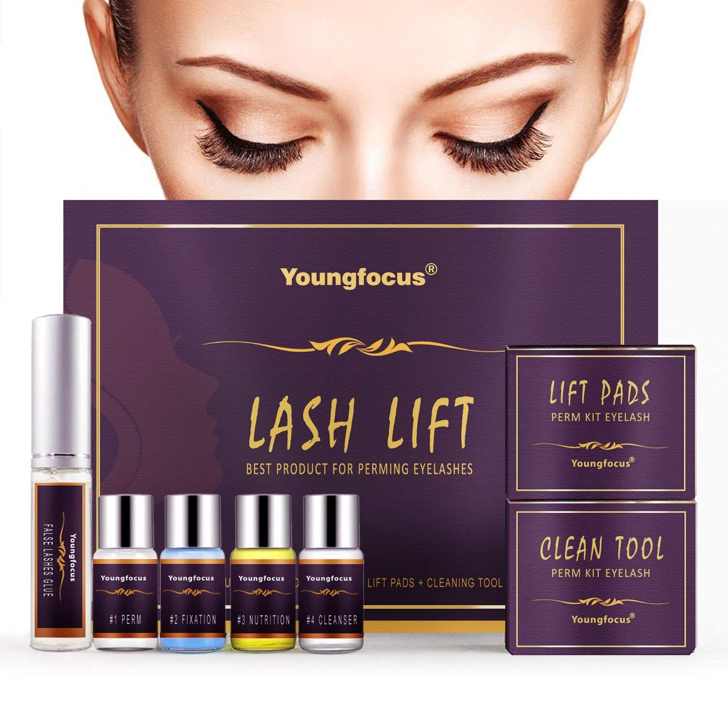 Youngfocus Eyelash Perm Kit, Professional Quality Lash Lift, Semi-Permanent Curling Perming Wave, Curler Kit,Lotion & Liquid Set