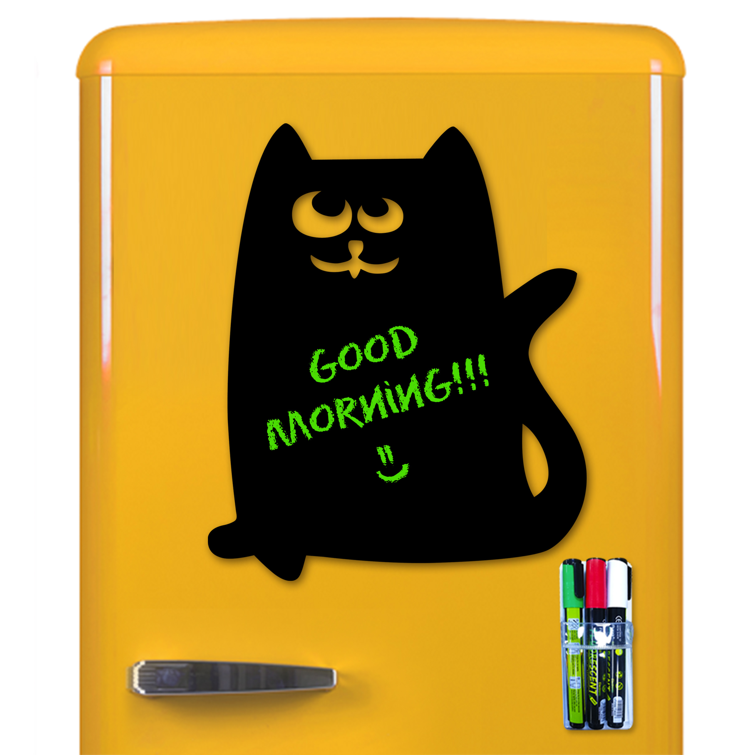 "Cute Magnetic Black Board for Fridge - Kitchen Refrigerator Memo Message Boards Dry-Erase with Markers and Holder - Decorative Cat Reminder Chalkboard Easy Erasable for Kids or Office - Size 15"" x 11"""
