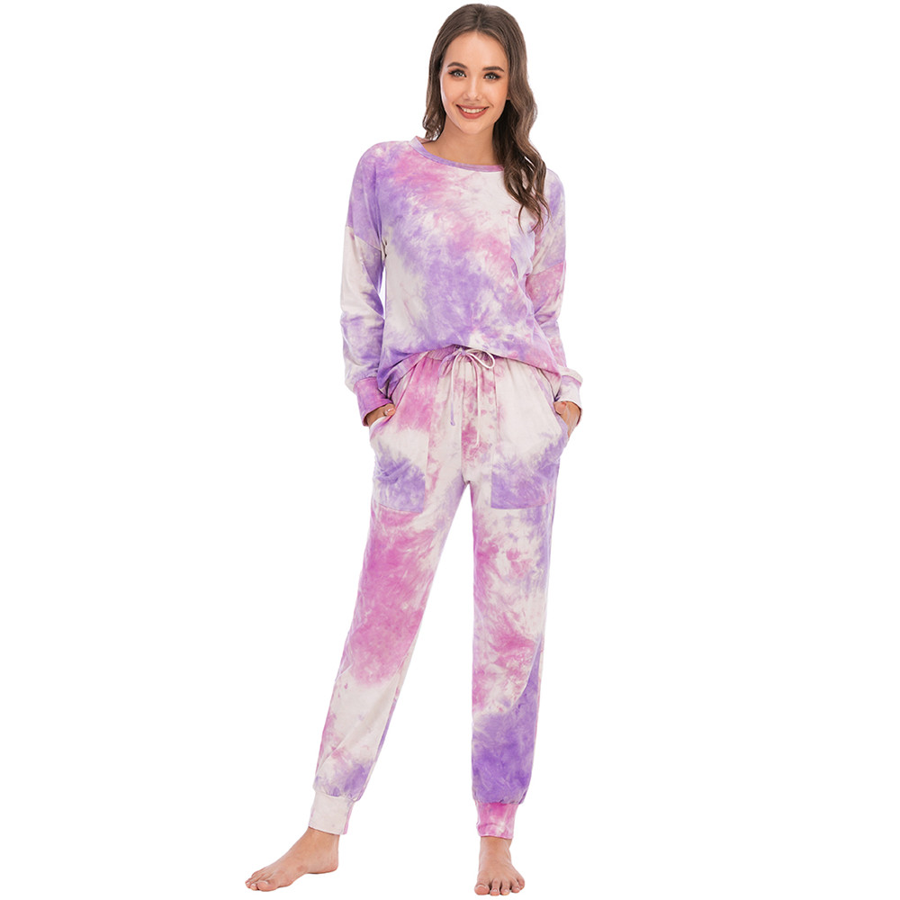 XGDong Womens Pajamas Sleepwears 2pcs Long Sleeves Pjs Colourful Nightwear Sets Outfits for Autumn Winter