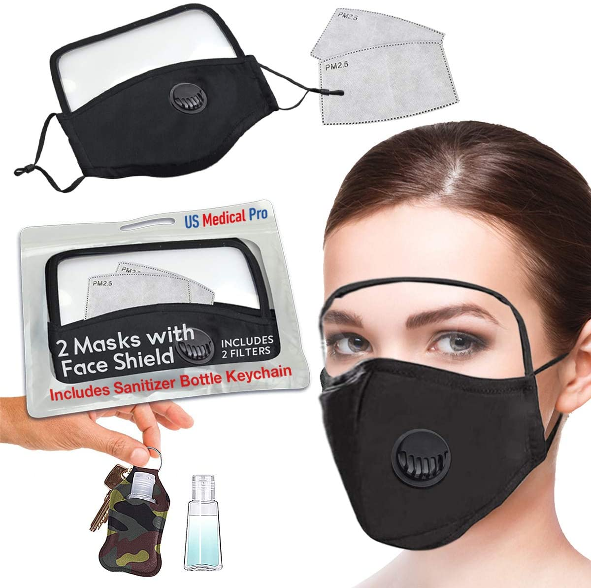 PM 2.5 Reusable Mask with Eye shield and filter