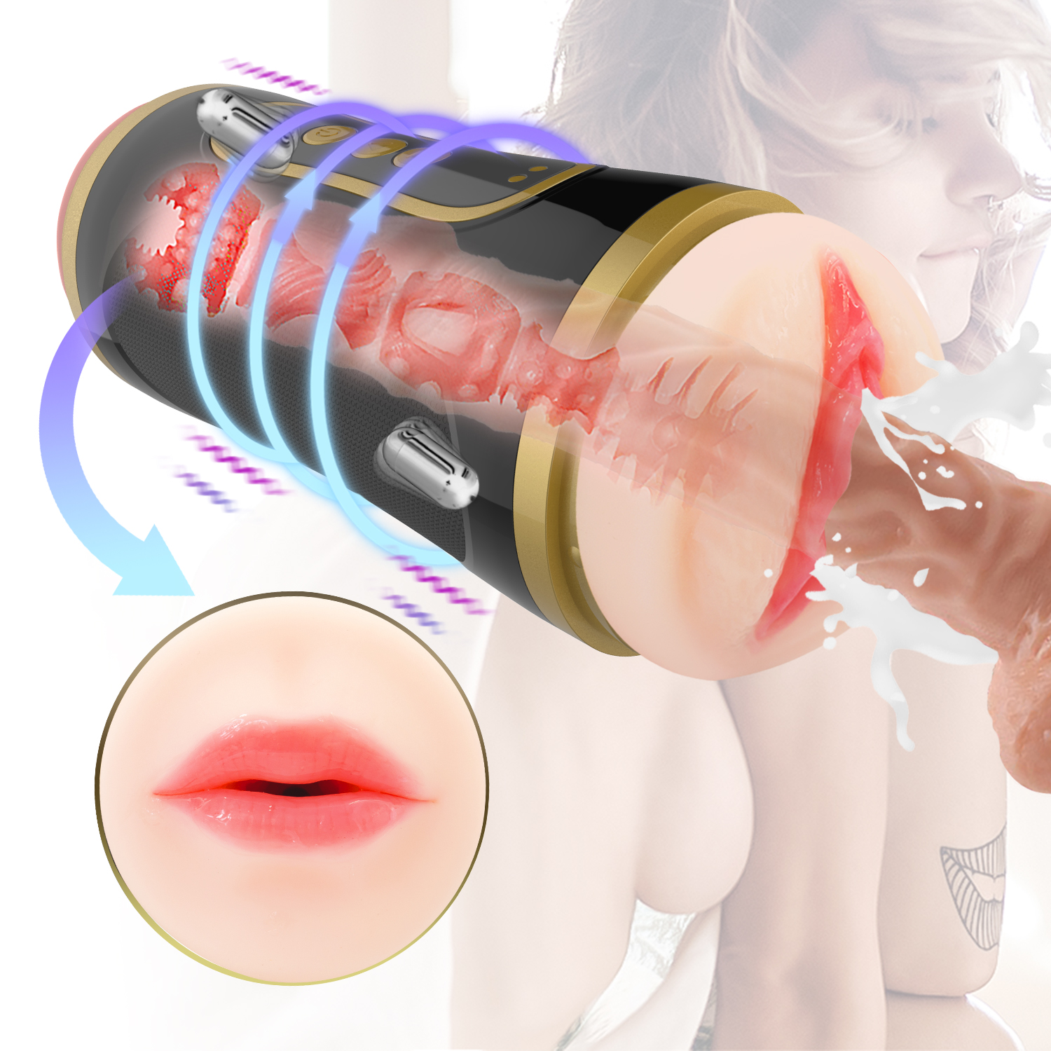 Pocket Pussy, Male Masturbators with 2-in-1 Vagina and Mouth Satisfaction, Realistic Electric Pocket Vagina Pussy with 10 Vibration Levels, Mens Sex Sexual Toy Massager for Male Men Couples