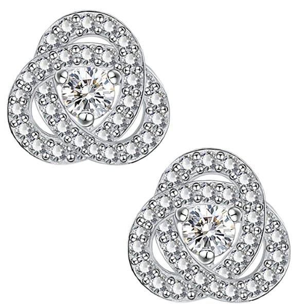 Sterling Silver Hypoallergenic Love Knot Earrings CZ Earrings for Women Girls Cubic Zirconia Knot Stud Earrings