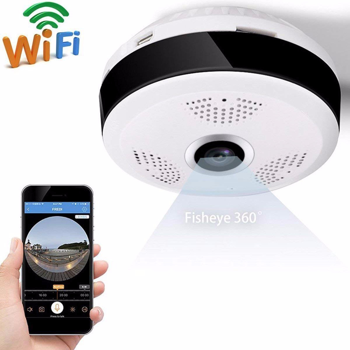 Home Safe Camera,iRULU HD 1080P VR WiFi IP Camera 2.0MP,Motion Detection,P2P,Two-Way Audio IR 360 Degree IP CAM WI-FI P2P Alarm (Size1, White)