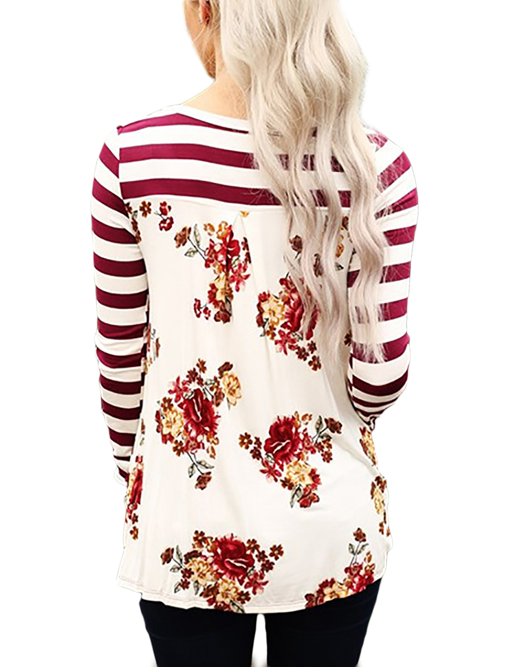 Women's O Neck Long Sleeve Striped Print T-Shirts Casual Blouse Tops